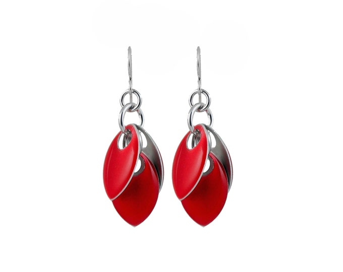 Ruby Red Iced Petals Dangle Earrings