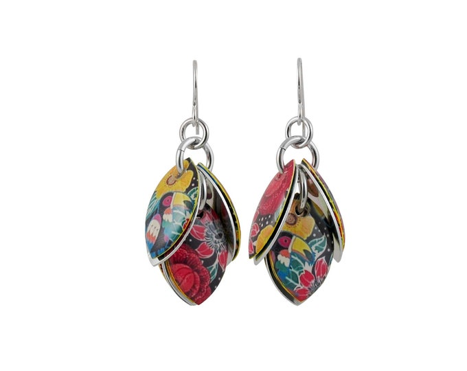 Toucan Mixed Media Cluster Earrings
