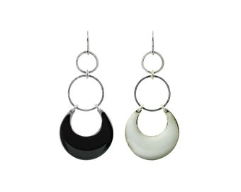 Eclipse Dangle Hoop Earrings - Black, White, Turquoise or Silver