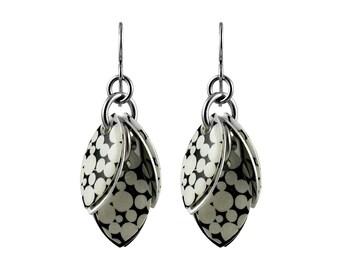 Mondo Black & White Polka Dot Dangle Earrings - Available in 3 Lengths