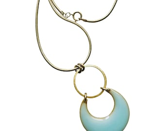 Moon and Tide Pendant in Gold and Aquamarine - Available in Gold or Silver