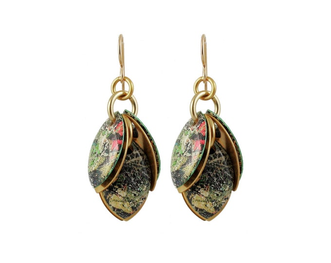 Jackson Pollock Green Mixed Media Cluster Earrings
