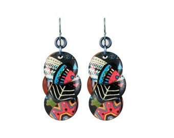 Circle Earrings with Tribal Pattern