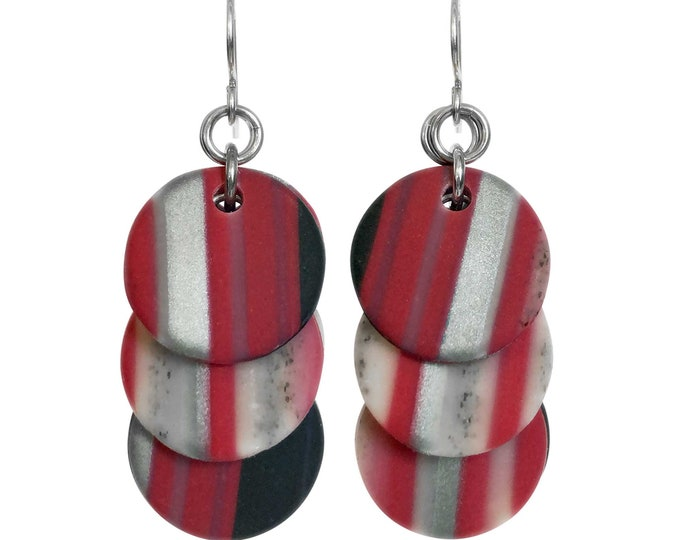 Red Black Grey Ombre Stripe Circle Earrings
