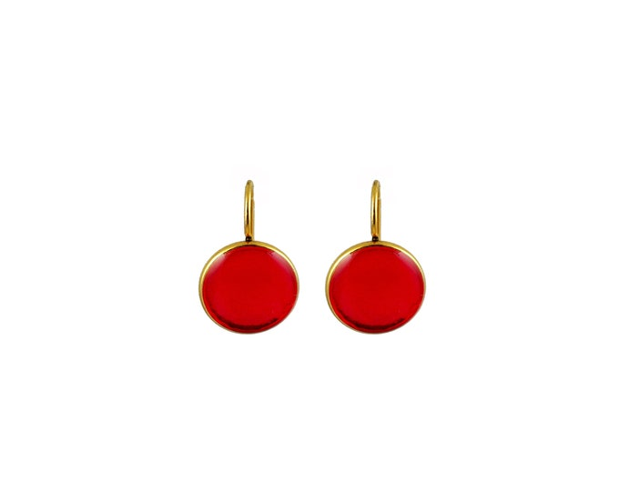 Cocktail Drop Earrings Ruby Red and Gold
