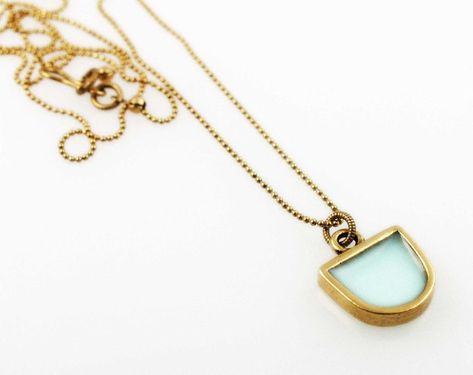 Rustic Half Oval Pendant Necklace in Aquamarine and Gold