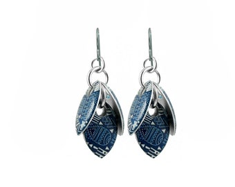 Blue and White Tribal Motif Petals to the Metal Cluster Earrings