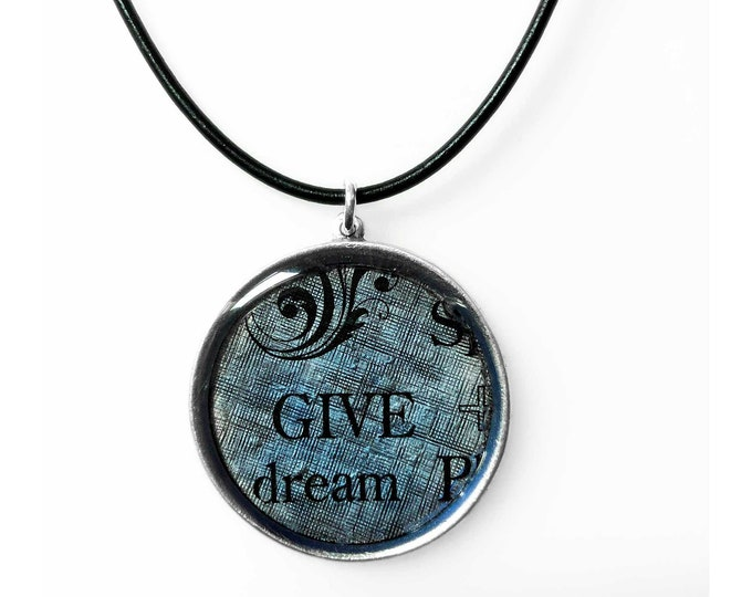 Give Dreams a Chance Circle Pendant in Silver and Blue