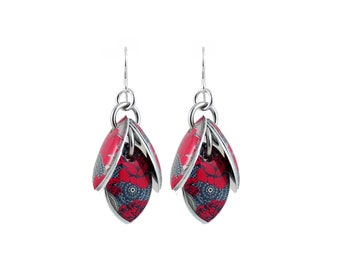 Red Black Grey White Petals to the Metal Cluster Earrings