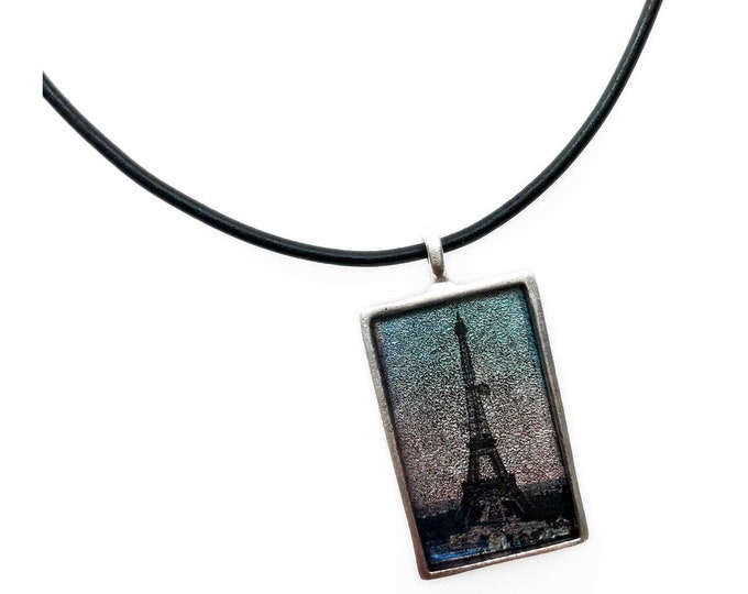 Eiffel Tower Paris Silver Rectangle Pendant Necklace with Leather Cord