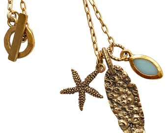 Coastal Charm Necklace with Scallop Shell, Starfish and Aquamarine Resin Stone - Available in Gold or Silver