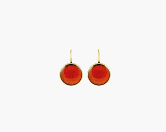 Cocktail Drop Earrings Amber and Gold