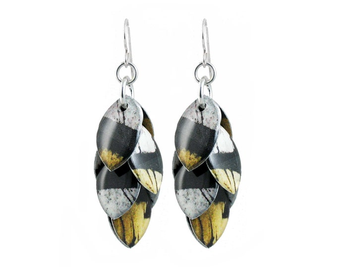 Black White Yellow Mixed Media Cluster Earrings