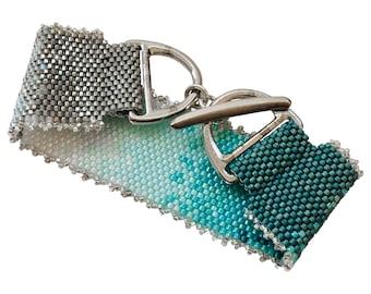 Sea Ice Bead Stitched Bracelet