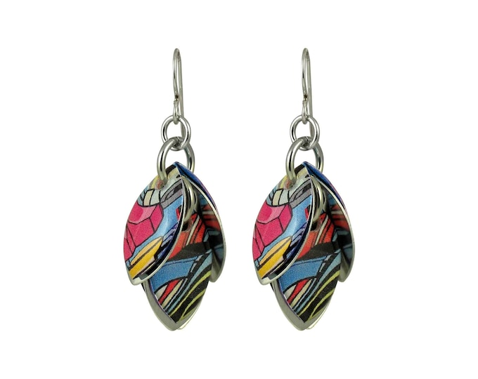 Comic Book Glitch Dangle Earrings