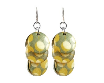 Circle Earrings with Yellow Grey White Polka Dots