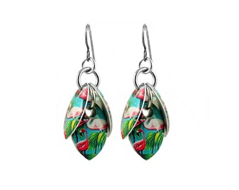 Pink and Green Flamingos Petals to the Metal Cluster Earrings