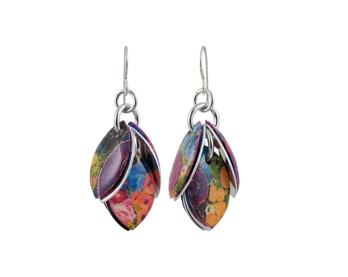 Purple Posies Mixed Media Cluster Earrings