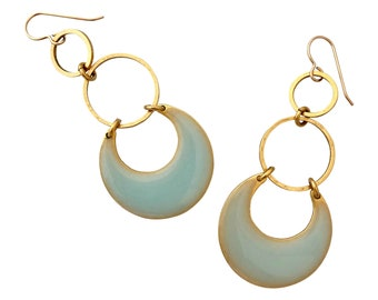 Moon and Tide Earrings in Burnished Gold and Aquamarine - Available in Gold or Silver