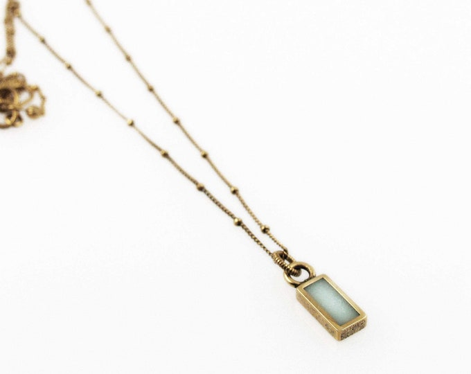 Tiny Rustic Aquamarine and Gold Rectangle Charm Necklace