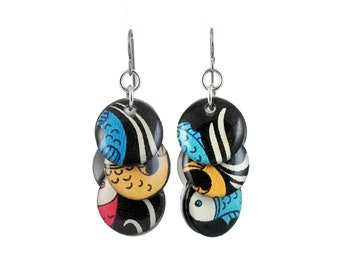 Circle Earrings with Waves and Fishes
