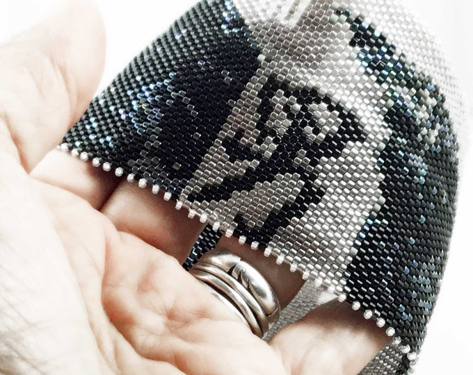 Ravens Bead Stitched Bangle Cuff