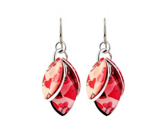 Graffiti Hearts Petals to the Metal Cluster Earrings