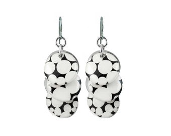 Circle Earrings with Black an White Polka Dots