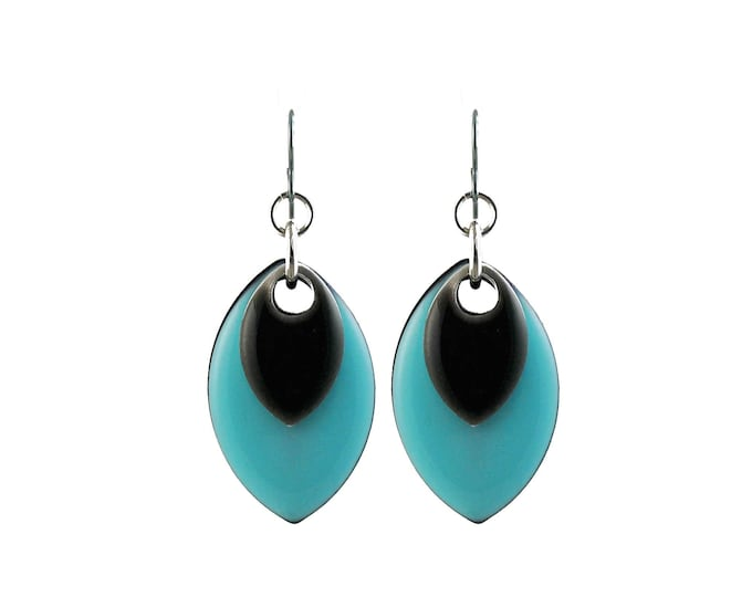 Turquoise Musings Earrings with Enameled Accent in Gunmetal