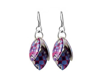 Purple Checkerboard Petals to the Metal Cluster Earrings