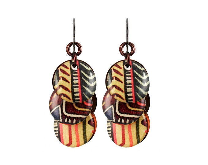 Circle Earrings with Tribal Stripes
