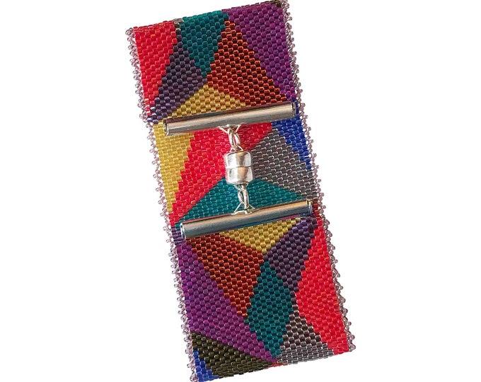 SOLD *** Spectrum Bead Stitched Wide Cuff Bracelet
