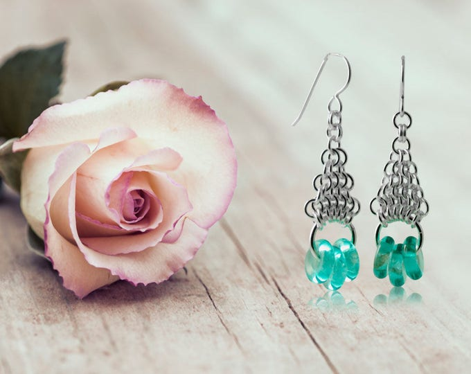 Intellect Love Power Earrings - Sea Foam-Turquoise - Wedding and Bridal Jewelry