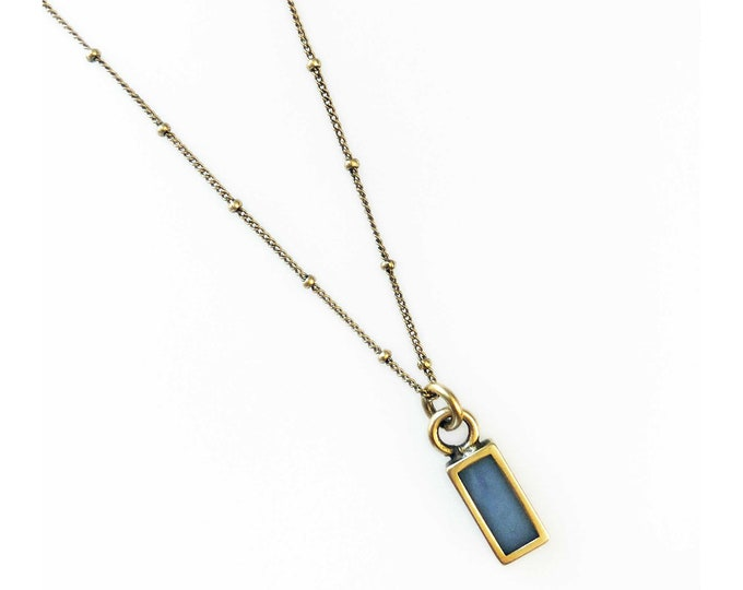 Tiny Rustic Lapis and Gold Rectangle Charm Necklace