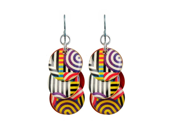 Optical Stripe Mixed Media Circle Earrings