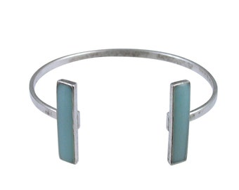 Aquamarine and Silver Rectangle Cuff Bracelet - Available in Gold or Silver