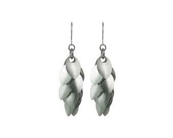 At Angles Silver Dangle Earrings
