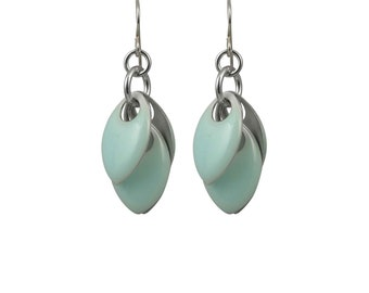 Petals to the Metal Earrings in Silver and Aquamarine - Available in Gold or Silver