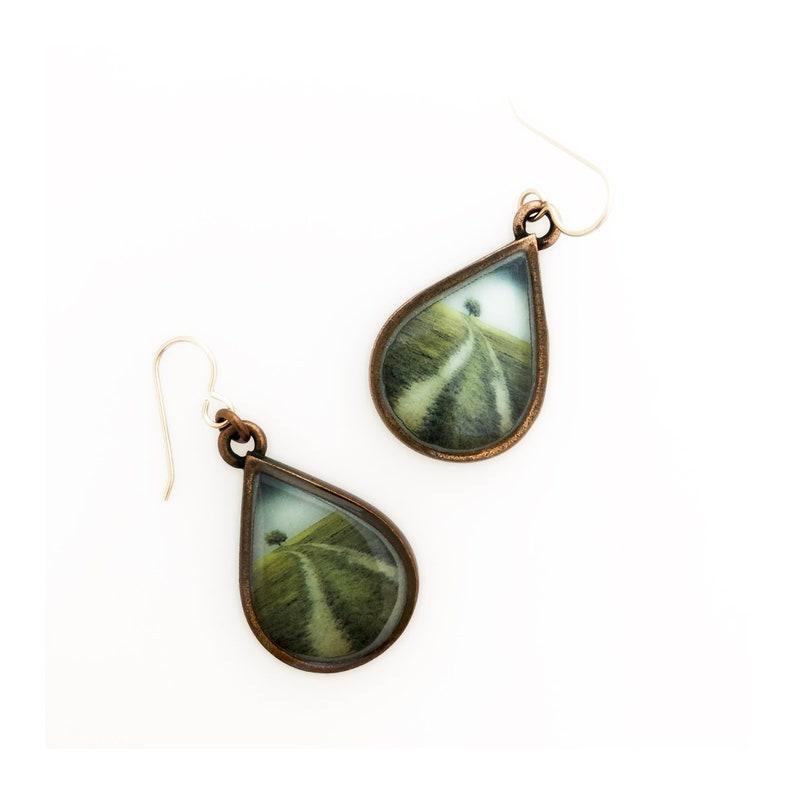 Every Day is a Winding Road Copper Dangle Earrings image 0