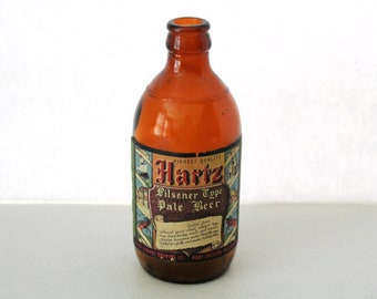 1940s Hartz Paper Label Beer Bottle, Pilsener Type Pale, 1943 Stubby 11 oz Port Orchard WA Silver Springs Brewing