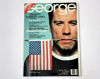 Vintage George March 1998 Magazine, Sex and Power Issue, Politics, John Travolta Primary Colors, Bill Clinton, Hollywood