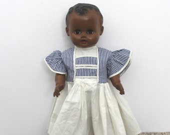 """Vintage Large 17"""" Sun Rubber Black Baby Doll, Squeaks, Wets, 1950s"""