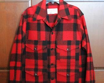 Vintage Filson Men's Red Black Plaid Wool Coat, Size 44, Cruiser, Mackinaw