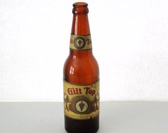 1930s Gilt Top Paper Label Beer Bottle, Spokane WA Brewing & Malting Co