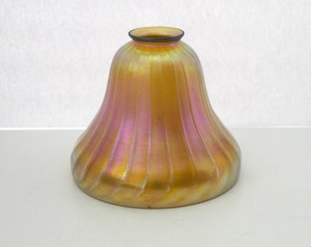 Antique Lustre Fluted Ribbed Iridescent Glass Shade, Gold Pink Lamp Light Shade