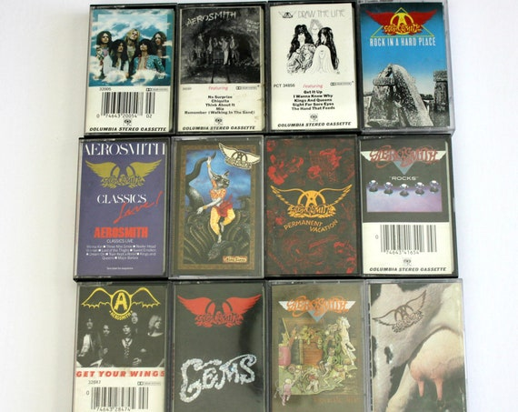 Vintage Aerosmith Cassette Tapes Lot of 12, Rock, Toys in The Attic, Draw The Line, Nine Lives and More