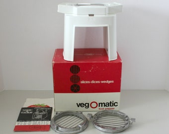 Vintage Veg O Matic Food Preparer, Popeil, Slice, Dice, Wedges in Original Box with Instructions