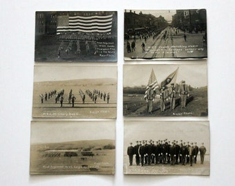 Antique Lot of 6 WSC Cadet Military RPPC Postcards, Post Cards Divided, World's Largest Flag, Burns Photos