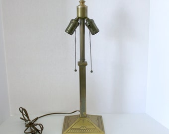 Vintage EM & Co Edward Miller Lamp Base , Double Light, Works