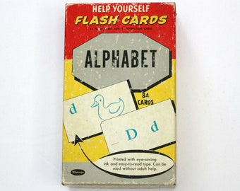 Vintage Whitman Alphabet Flash Cards Set of 84, Help Yourself, Educational, School, Upper, Lowercase Letters, Pictures